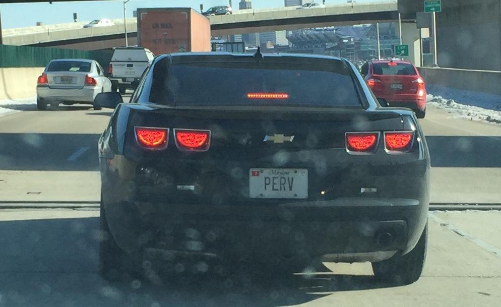 """Perv"" vanity license plate"